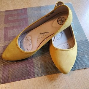 Yellow dress flats womens shoes